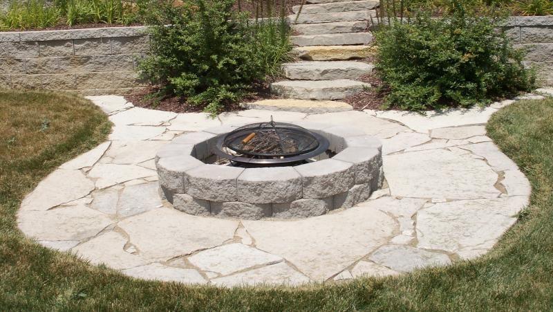 stone patio ideas flagstone patio firepit illinois missouri st