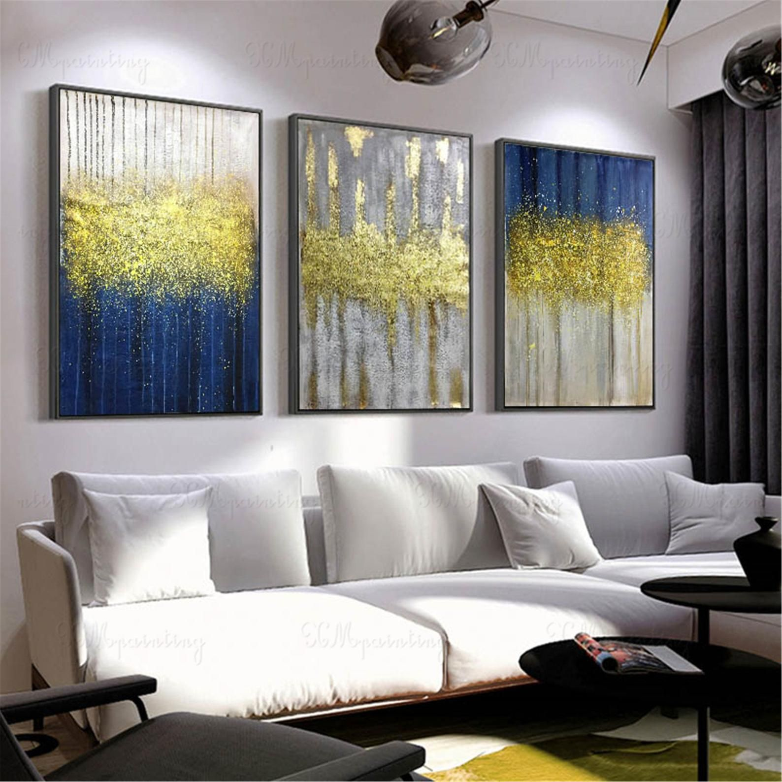 3 Pieces Gold Art Abstract Painting Canvas Wall Art Pictures Etsy In 2020 Living Room Canvas Canvas Art Wall Decor Abstract Art Painting