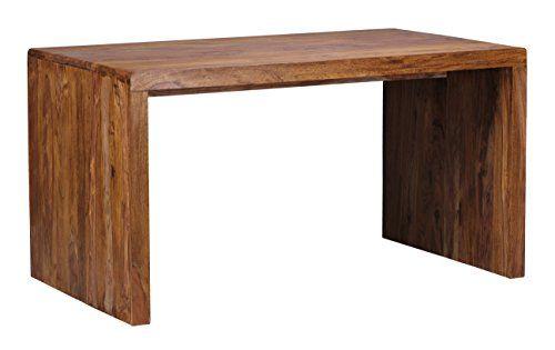 WOHNLING Schreibtisch Massiv Holz Sheesham Computertisch 140 Cm Breit  Echtholz Design Ablage Büro Tisch Landhaus Stil Natur Produkt Büro Möbel  Dunku2026