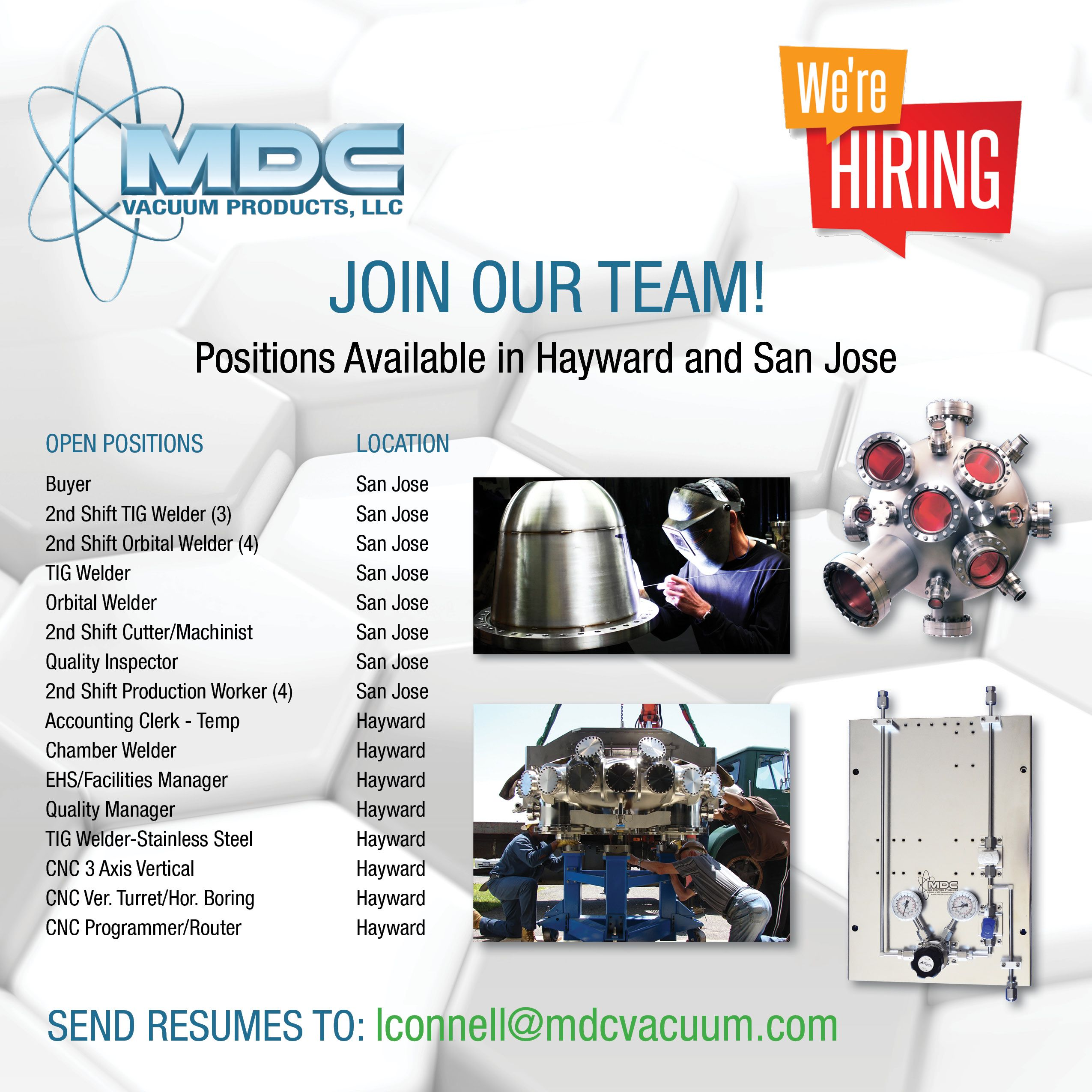 Join Our Team Mdc Currently Has A Number Of Open Positions Available At Our Headquarters In Hayward Ca As Well As Our Gas De Job Opening Vacuums Gas Delivery
