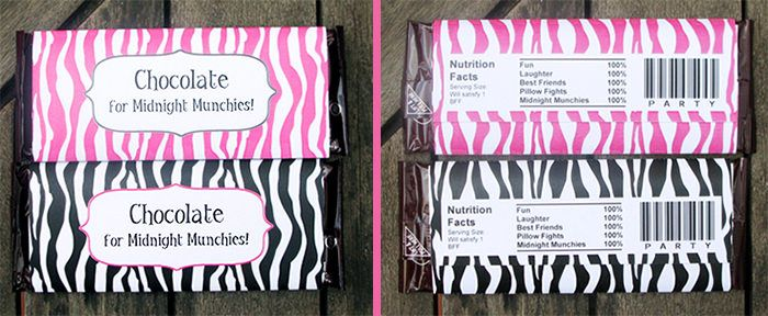 printable sleepover theme Chocolate bar wrappers