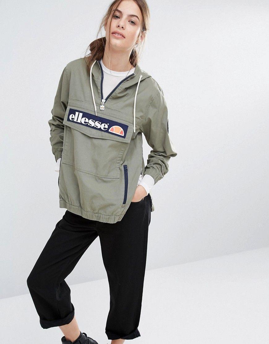 Ellesse – Kapuzen-Pulloverjacke mit halbem Reißverschluss und Logo vorne
