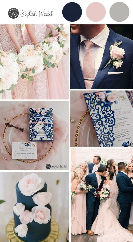 romantic navy blue and pink floral laser cut wedding invitations #wedding  #weddinginvitations #stylishwedd  #stylishweddinvitations