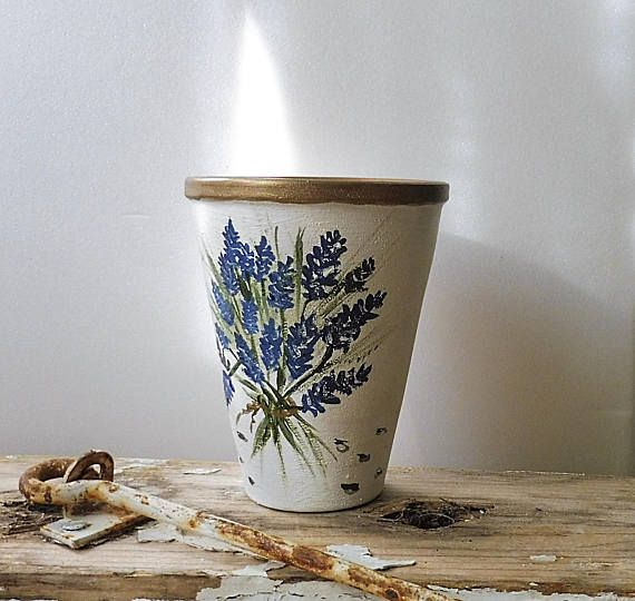 Hand Painted Lavender Painted Clay Pot Terracotta Pot Painted Clay Pots Hand Painted Pottery Flower Pots