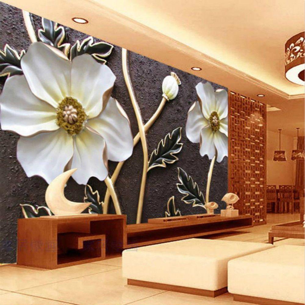 3d Wallpaper Bedroom Mural Roll Modern Luxury Lotus Magnolia Relief Background Unbranded Modern Wallpaper Bedroom Childrens Bedroom Wallpaper Bedroom Murals