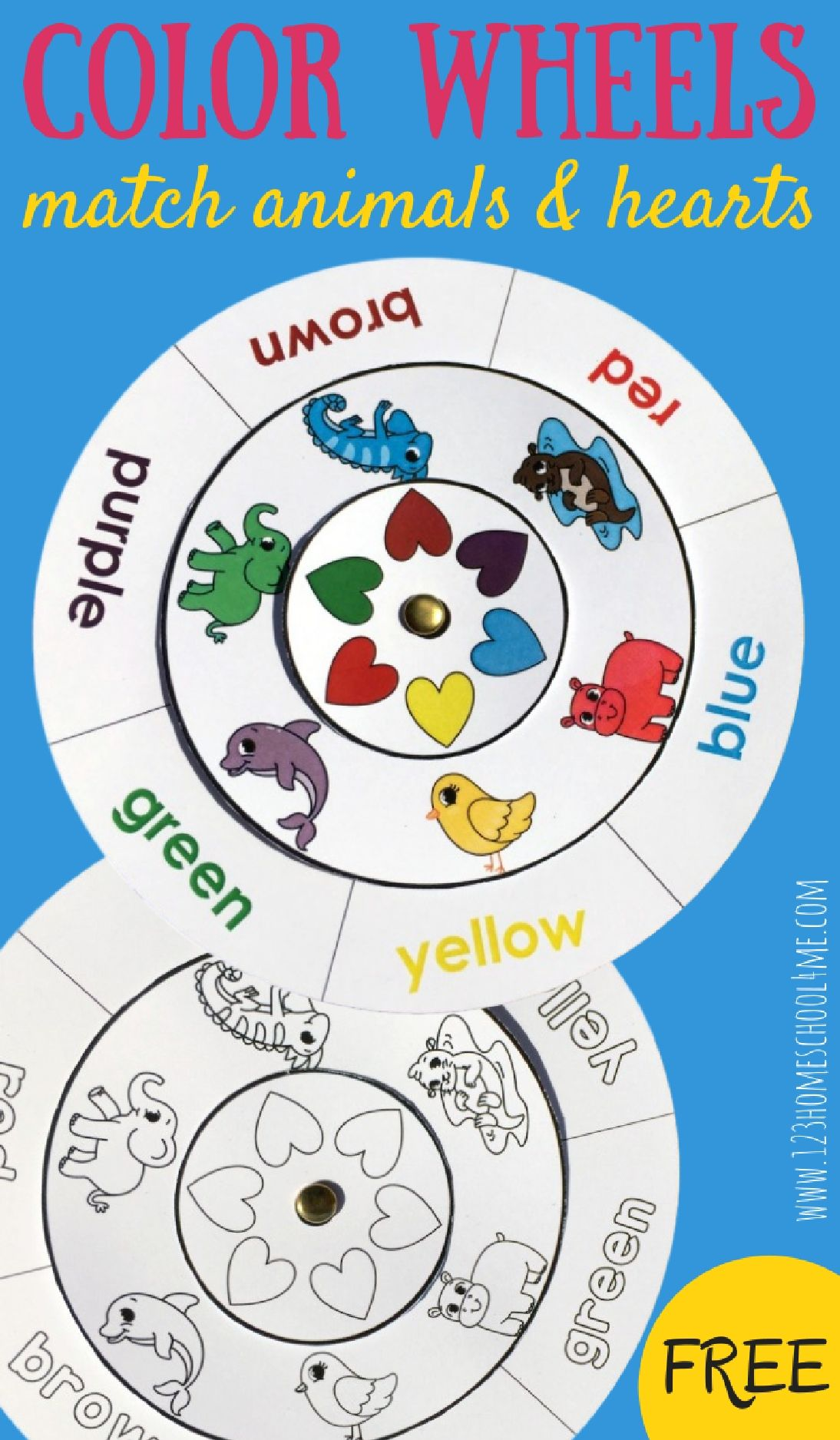 Learning colors for toddlers printables - Learn Colors With This Fun Free Printable Color Matching Wheels Activity For Toddler Preschool