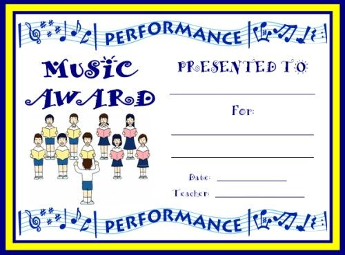 Art And Music Award Certificates  Choir Elementary Schools And
