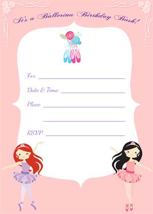 Kids Party Supplies: Ballet Invitation Free Printable Download ...
