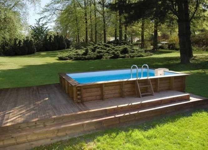 Photo des plus belles piscines en bois piscine bois for Piscine hexagonale semi enterree