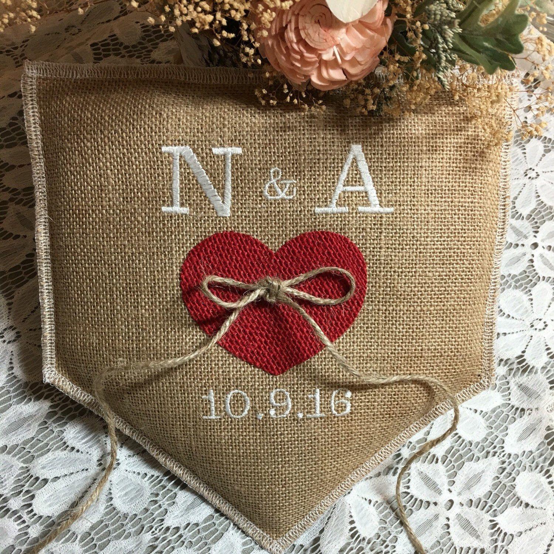 Love This Red Burlap Heart On Natural Burlap Ring Pillow