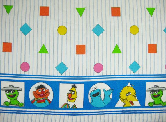 Retro Sesame Street And Friends Twin Size Flat Sheet Fitted Pillowcase Features Stripes Shapes Perfect Gift For The Fanatic