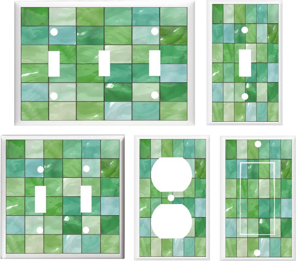 Image Of Gl Tile Green Tones Light Switch Cover Plate Ot Outlet U Pick Handmadecustomdecalplasticplates