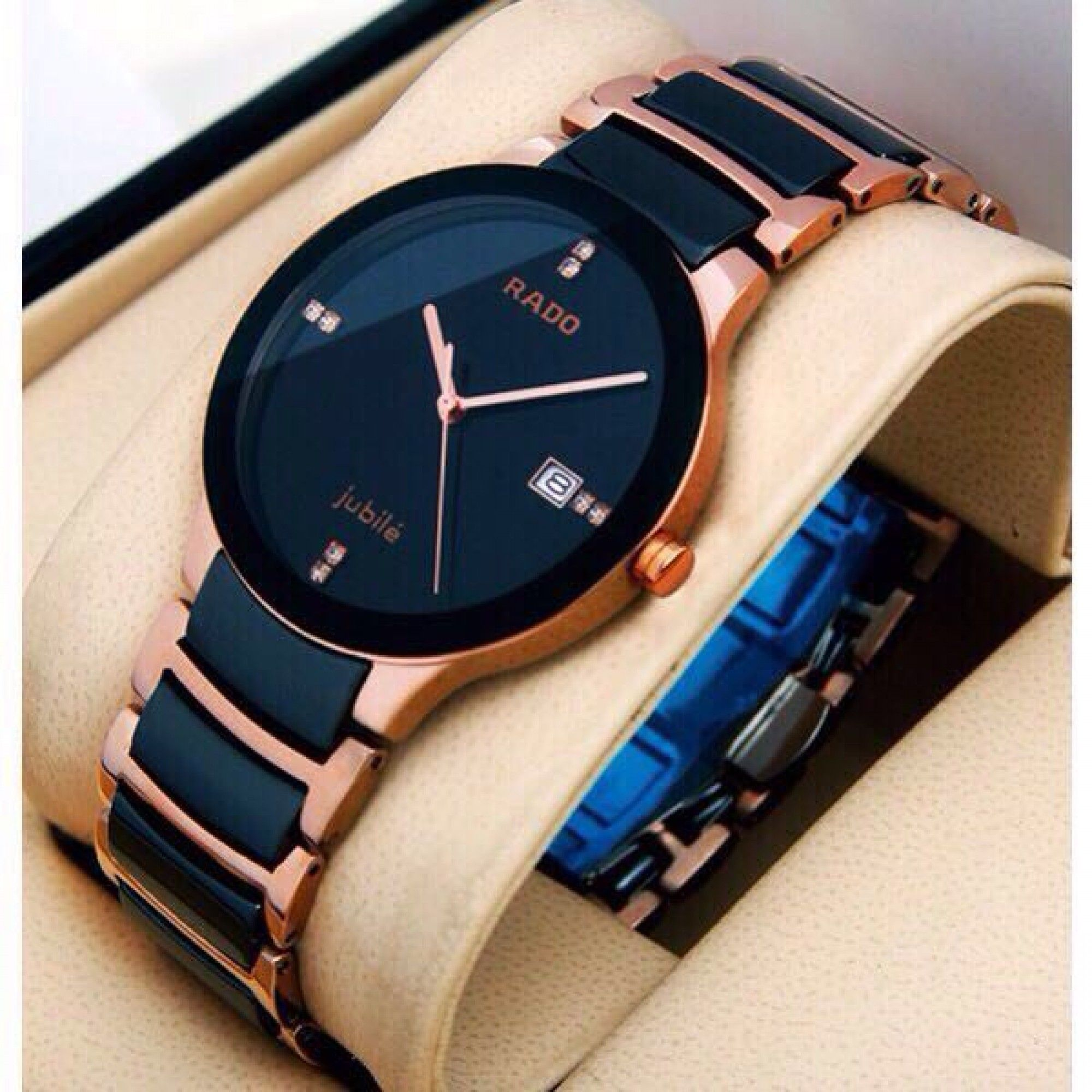 Rado Centrix Black Dial Women's Watch rose gold