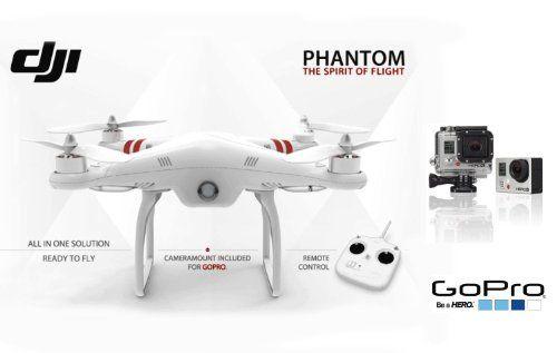DJI Phantom Aerial UAV Drone Quadcopter With GoPro Hero3 Black Edition Camera And Mount Kit Amazon Dp B00H4IZ4Y8 Ref
