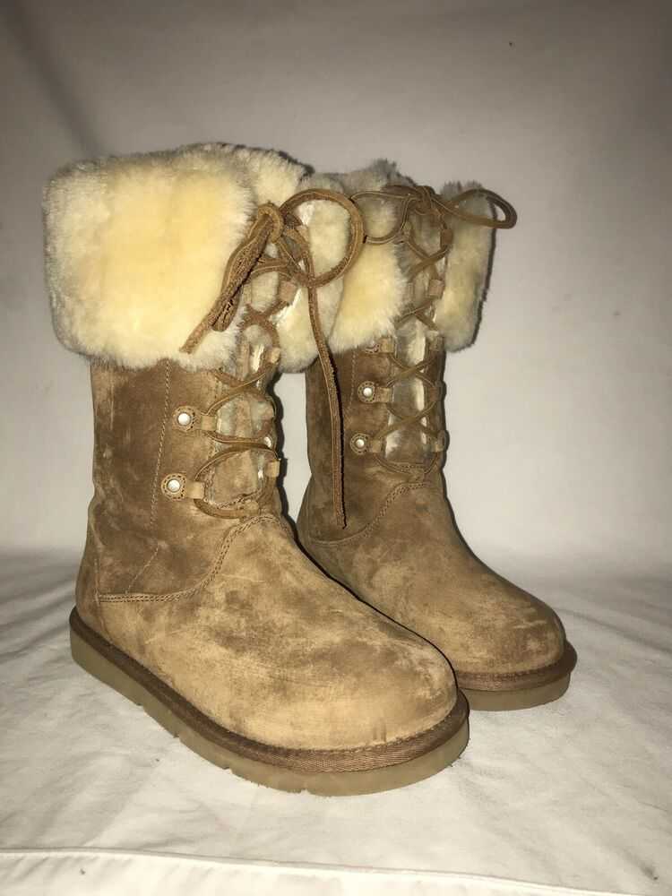 8df47878f83 UGG AUSTRALIA MONTCLAIR BOOTS 1892 Tan SUEDE SHEEPSKIN LACE UP Size ...