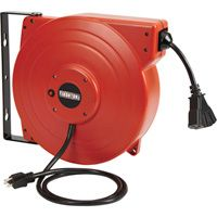 Ironton Retractable Cord Reel with Triple Tap — 65ft., 12/3 SJT, 15 Amps The price is $99.99.