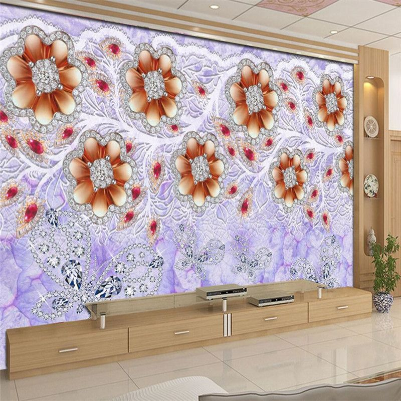 Home Decor Wallpaper for Living Room Gold Crystal Pearl Ornament