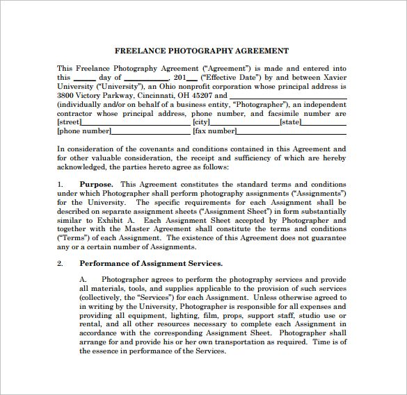 Freelance Photography Contract PDF Template Free Download - performance agreement contract