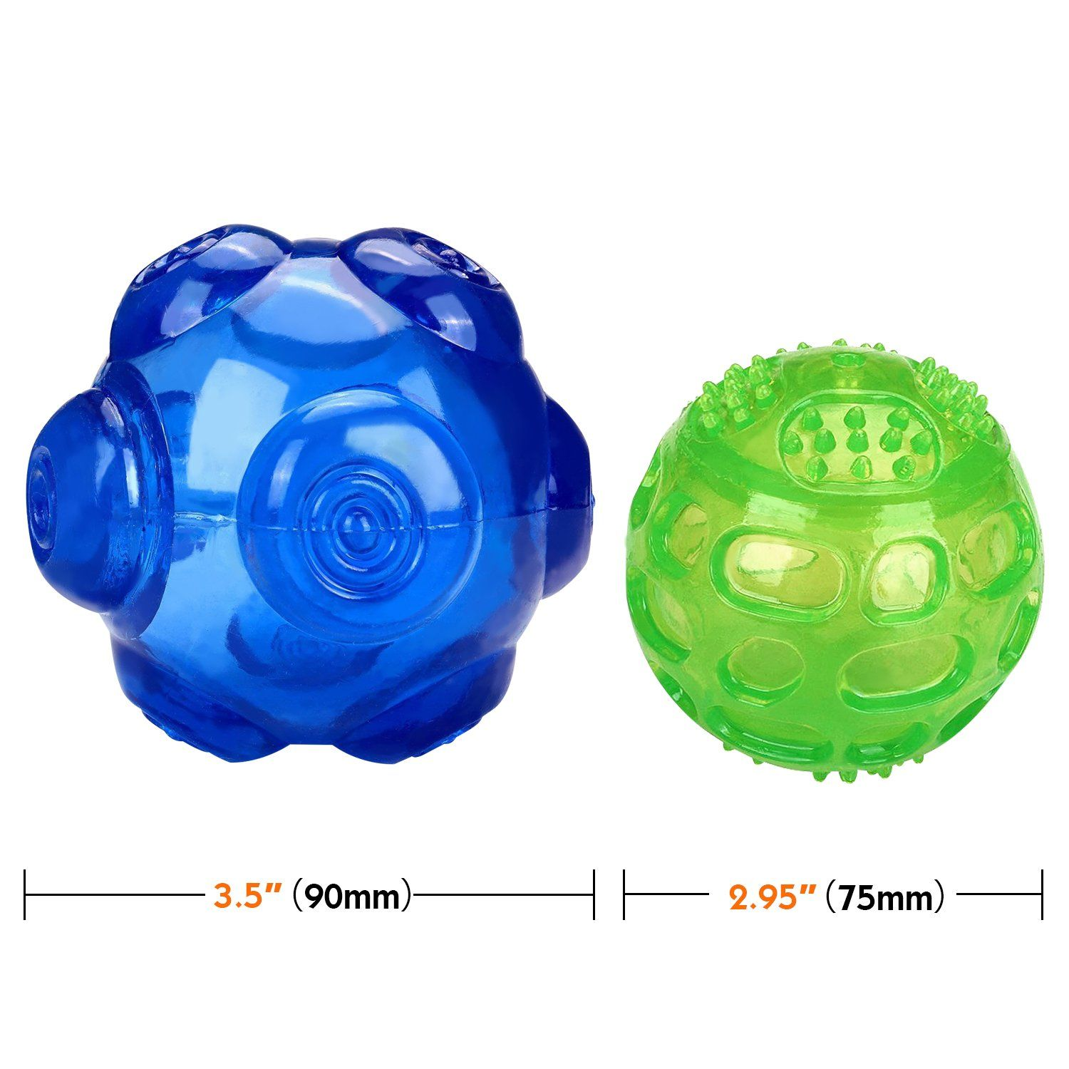 Pawaboo Pet Toy Balls 2 Pack 3 6 3 Inch Durable Rubber Dogs Toy