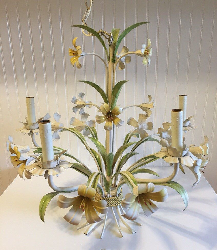 Tole chandelier lillies 4 arm italian chandelier with ceiling mount tole chandelier lillies 4 arm italian chandelier with ceiling mount romantic home cottage chic arubaitofo Image collections