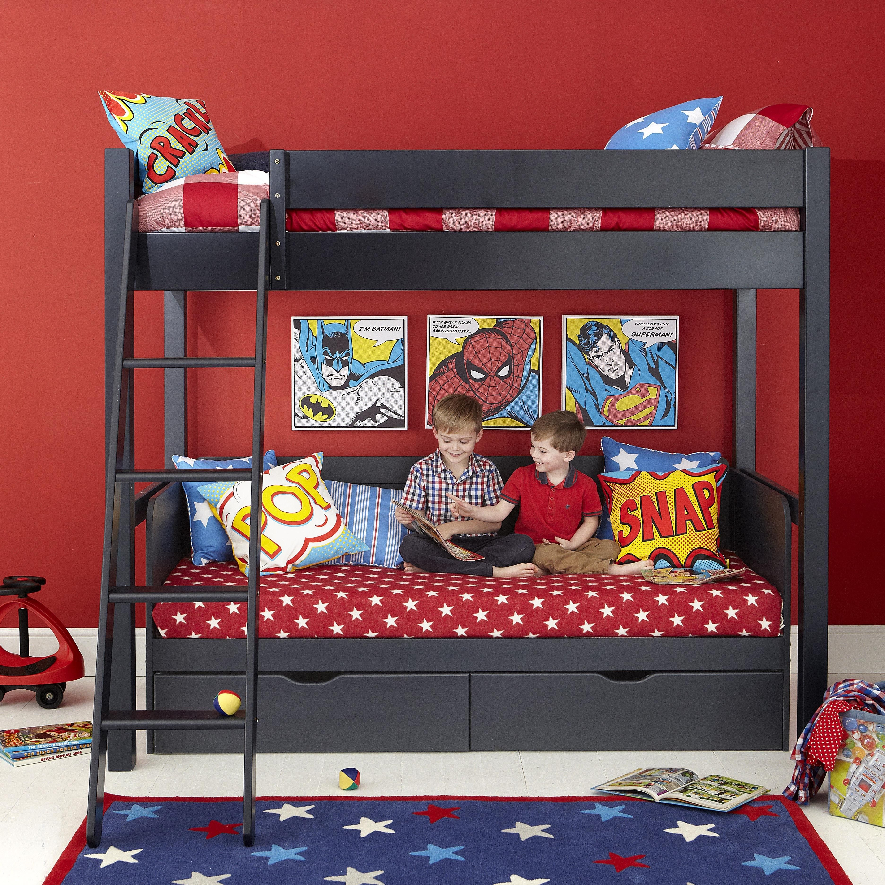 Star Bedroom Furniture Superhero Themed Black Wooden Aspace Bunk Bed With Star Pattern