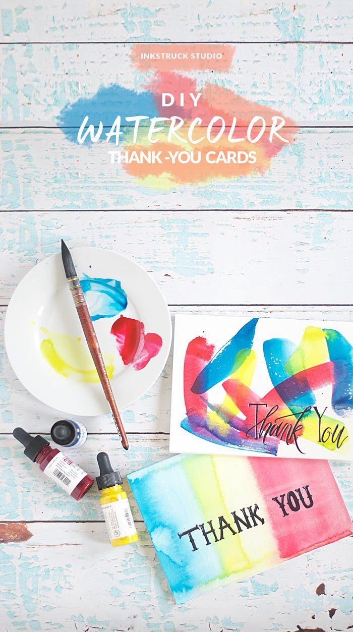 Diy Watercolor Thank You Cards Thank You Cards Watercolor Art