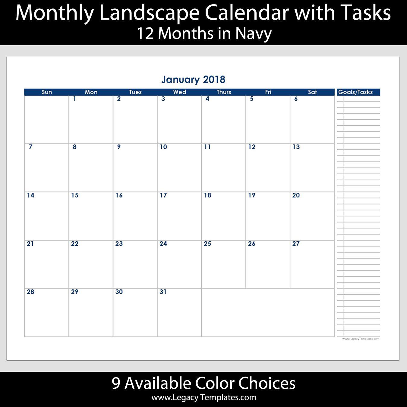 2018 12 month calendar with tasks printable calendars available