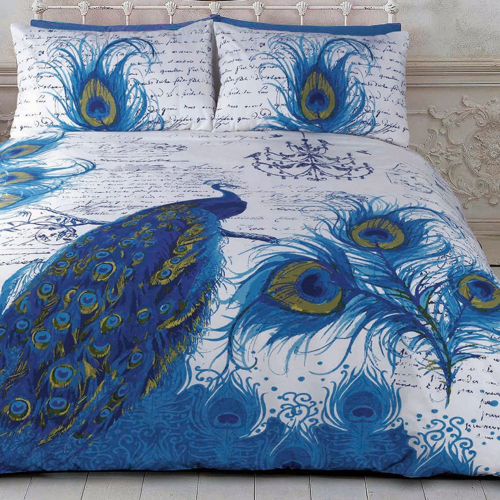 Pea Quilt Doona Duvet Cover Set Bedding Bird Peafowl Feathers New Home