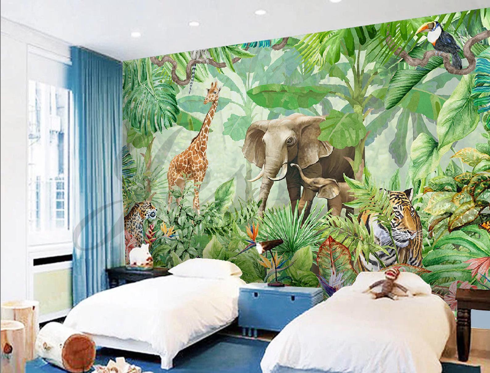 3d Nursery Kids Animals Elephant Giraffe Removable Wallpaper Etsy In 2021 Wall Wallpaper Jungle Mural Kids Wall Decals