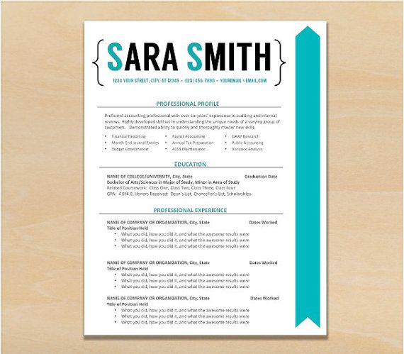 Graphic Resume Custom Resume Resume Template Modern Resume - mid career resume