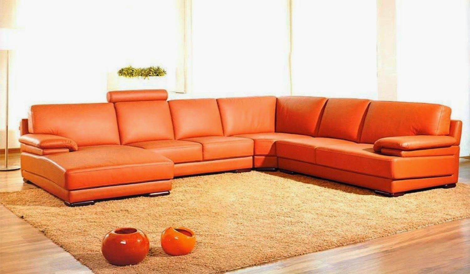 Perfect Good Looking Orange Leather Sofas You Must Have : Charming UShaped Orange Leather  Sofa With