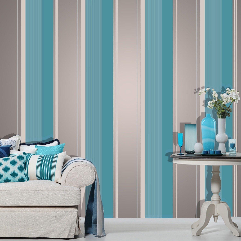Crown Millie Stripe Wallpaper Striped wallpaper, Teal