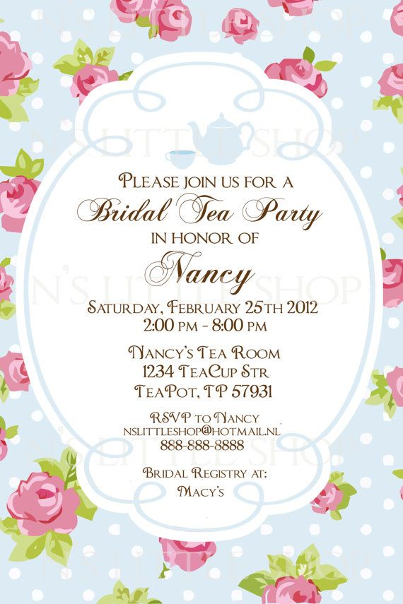 "Bridal Shower ""Tea Party"" Invitations. English Rose Tea Party"
