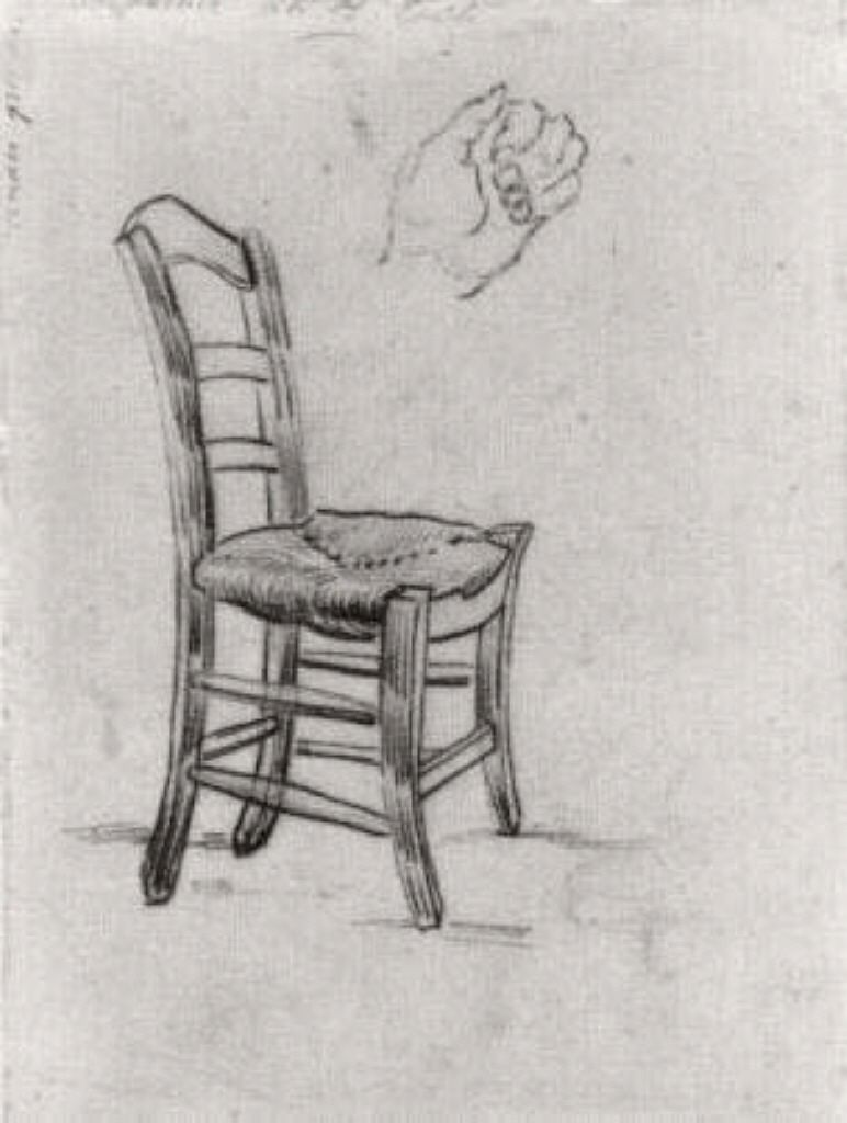 Chair And Sketch Of A Hand Vincent Van Gogh Illustrations