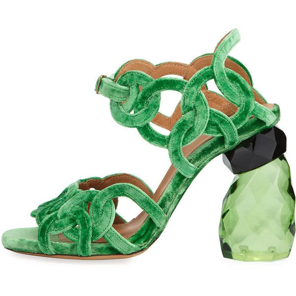 Dries Van Noten Velvet Rings Resin-Heel Sandal mFHlAiQb