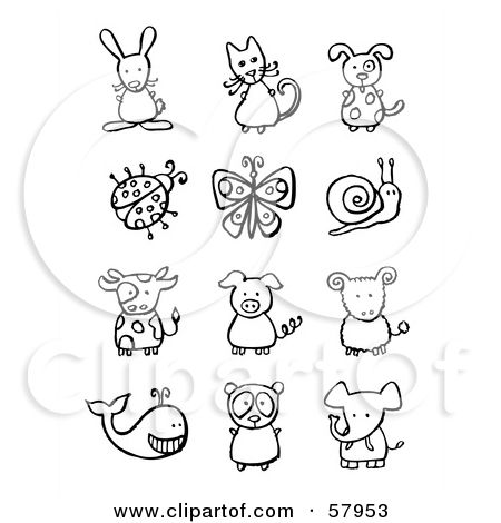 Royalty Free Rf Clipart Illustration Of A Digital Collage Of Black And White Animals And Bugs By Nl Shop Digital Collage Clip Art Clip Art Pictures