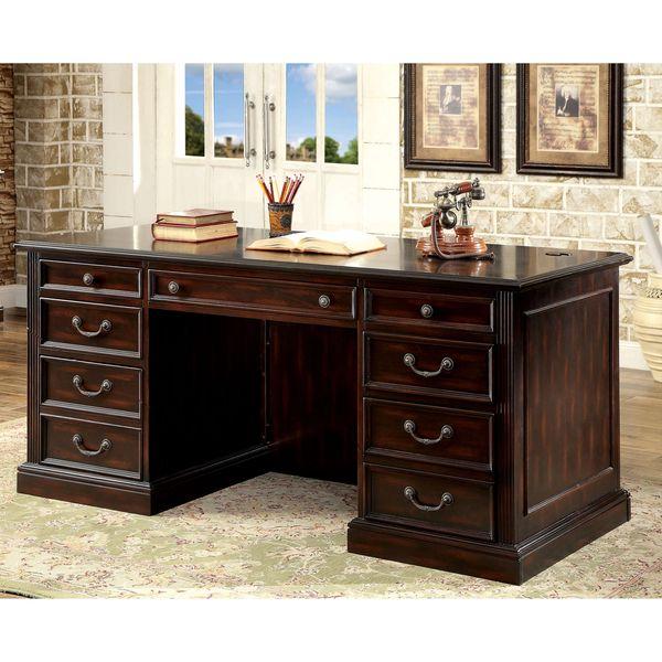 furniture of america grantworth dark cherry executive desk mel and