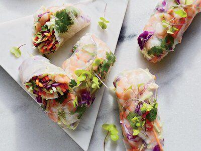Peanut, Shrimp, and Broccoli Rolls