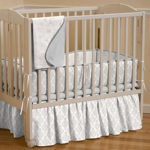 Silver French Damask Portable Crib Skirt Gathered 500x500 Image Mini Crib Bedding Portable Crib Bedding Crib Bedding Girl