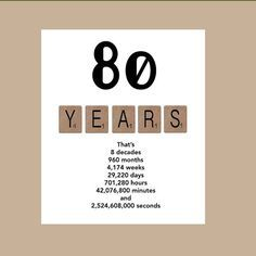 80th Birthday Card Milestone The Big 80 1934 Like This Idea But It Would Require Some Serious Math To Do For Any One Who