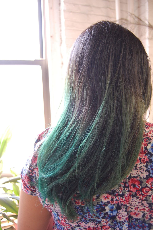A staffer's faded green dip-dye using MANIC PANIC ...