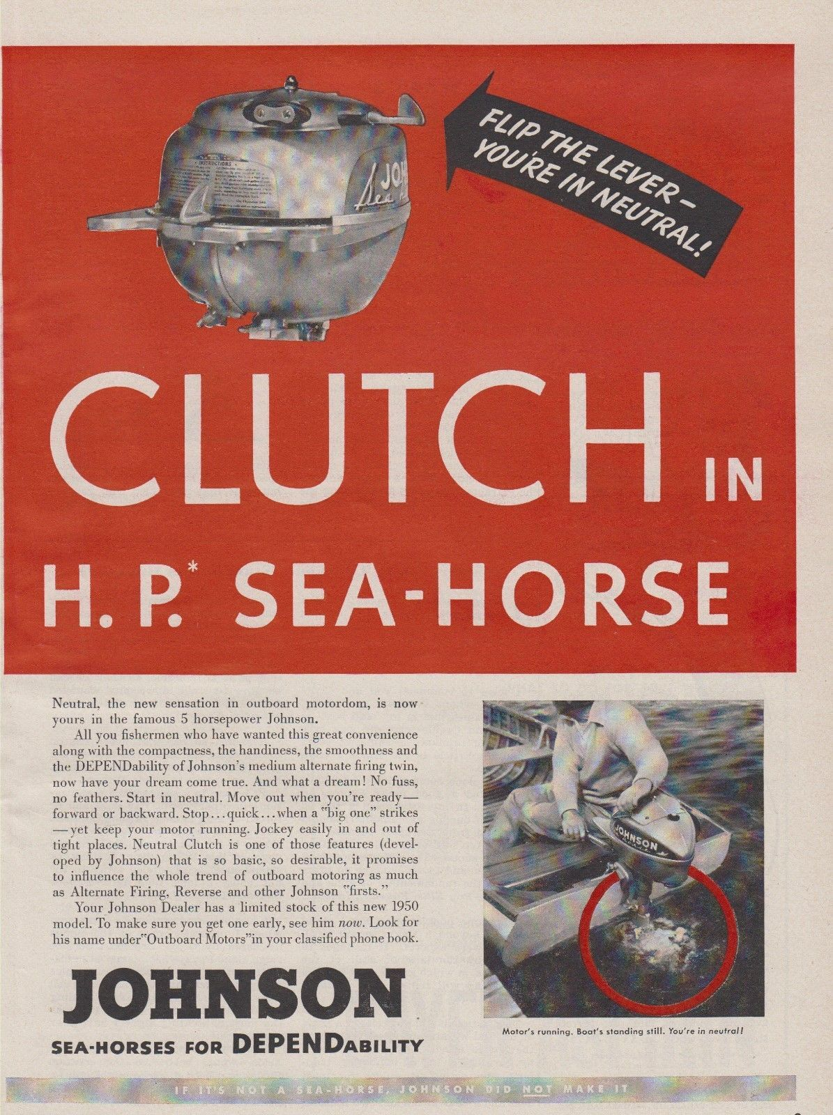 """2-PAGE 1950 JOHNSON SEA-HORSE """"MODEL TN"""" OUTBOARD MOTOR AD with NEUTRAL CLUTCH"""