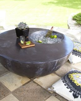 Outdoor Coffee Table With Built In Ice Bucket Trina Turk Pillows