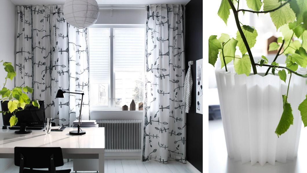 Thuiskantoor met IKEA gordijnen met motief en plisségordijnen ...