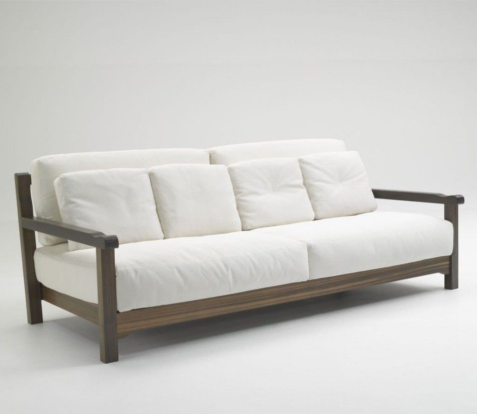Furniture Simple Wood Sofa Design: Simple Modern White Sofa Design With  Wooden Frame Couch Design