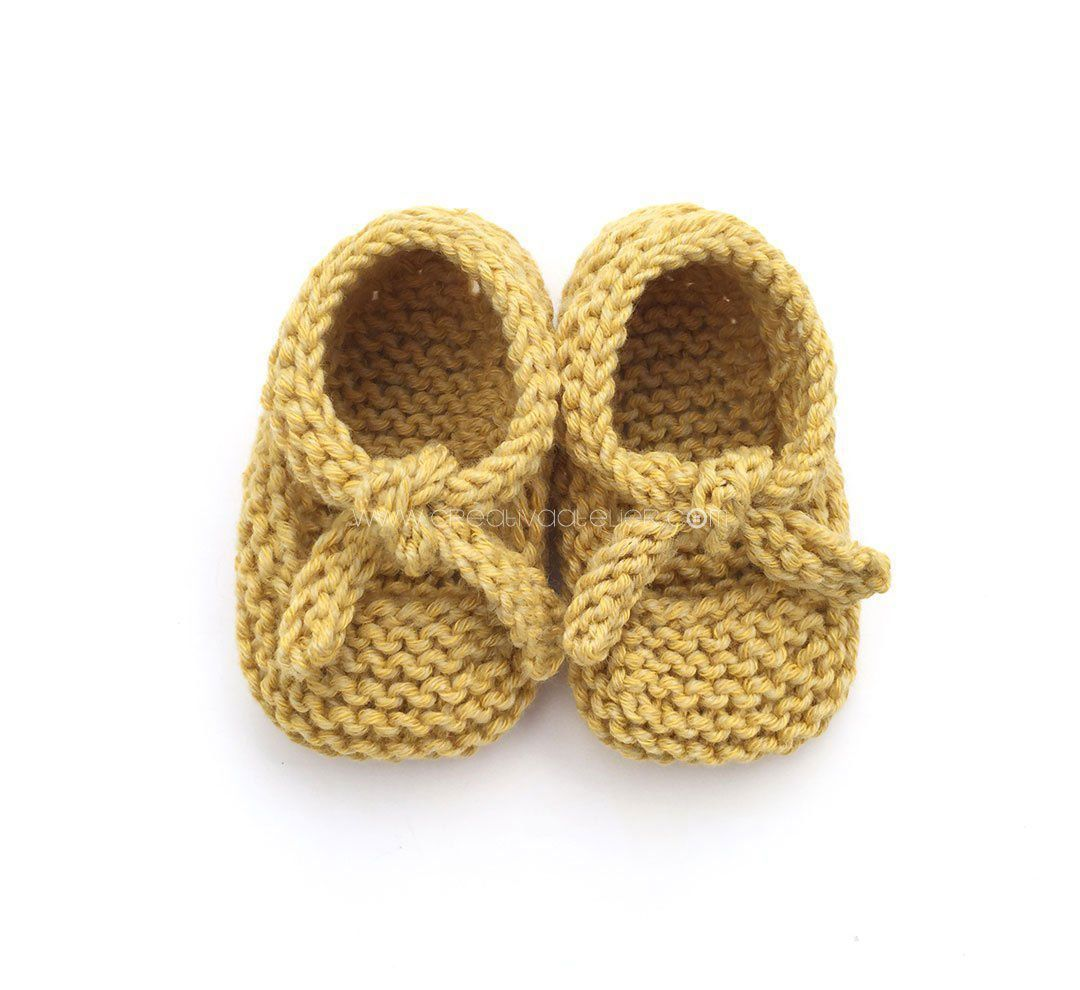 Knitted Baby Shoes - Garter Stitch Ballerinas [ EASY Pattern ...