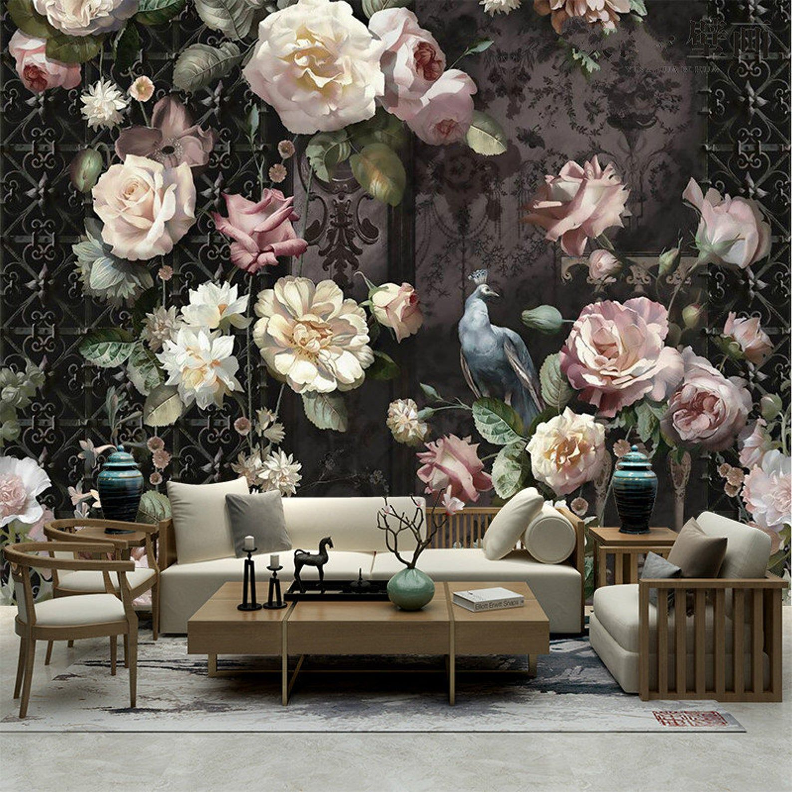 Oil Painting Dutch Victorian Flowers Floral Wallpaper Wall Etsy