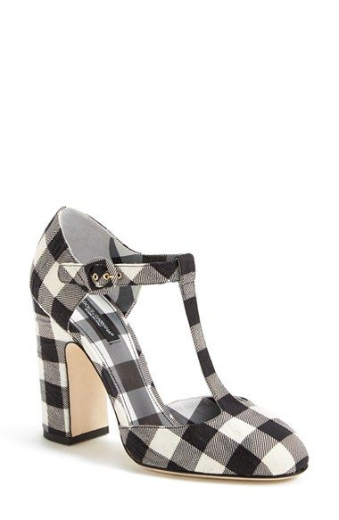 I absolutely love gingham and therefore I need these. Dolce&Gabbana Gingham T-Strap Pump (Women) - $950