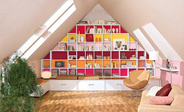 dachschr ge regal regale schr nke pinterest regale bauen dachschr ge und stauraum. Black Bedroom Furniture Sets. Home Design Ideas