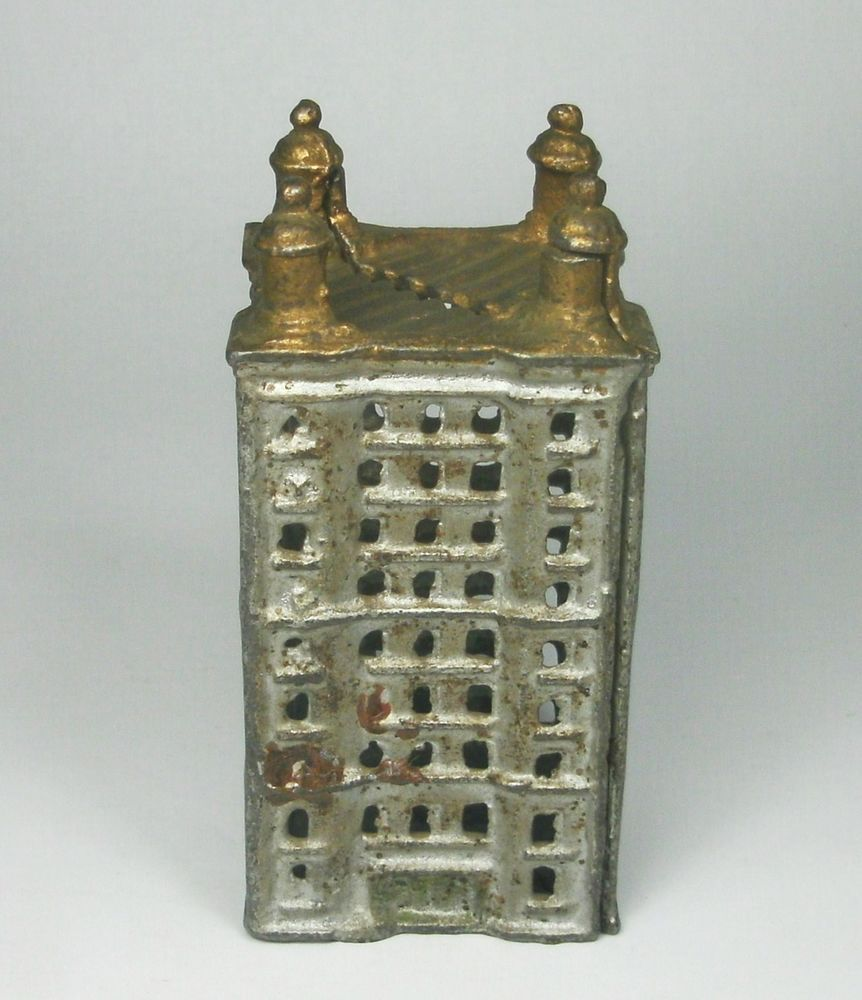 W vintage cast iron skyscraper coin bank building turret towers no